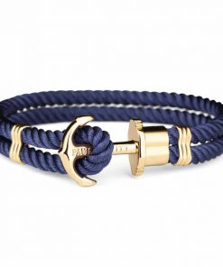 Paul Hewitt Ankerarmband PHREP IP Gold Nylon Marineblau 17 cm - PH-PH-N-G-N-S